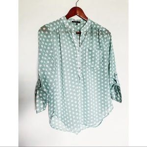 Love Culture Turquoise Polka Dot Blouse